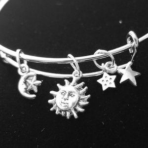 Moon, Sun & Stars Silver Slide Charm Bracelet